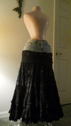 Esméralda bohemian jean skirt black lace ruffled frilly frou frou gypsy sequins Renaissance Denim Couture boho chic. $88.00, via Etsy.