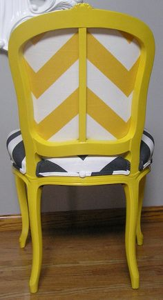 Upcycled Vintage Chair. Recovered in Premier Prints Zippy Fabric in Xorn Yellow Slub and Charcoal slub.