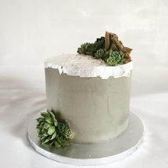 When your friends are the ultimate hipsters you make them a concrete and succulent wedding cake ❤️