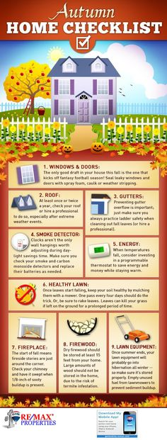 Allstate and American Home Shield help you get your home ready for fall with a fall home maintenance checklist. DIY home maintenance made simple. Home Design, Interior Design, Home Maintenance Checklist, Home Safety, Real Estate Tips, Home Ownership, Home Repairs, Autumn Home, Home Hacks