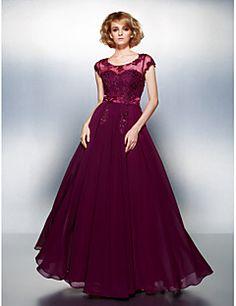 Corte en A Hasta el Suelo Raso Evento Formal Vestido con Cuentas Apliques Botones por TS Couture® – USD $ 285.00