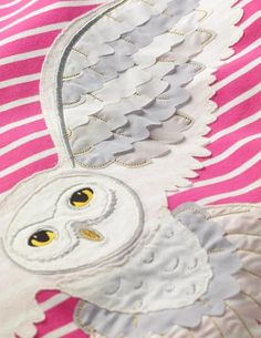 Hedwig Kleid Mit Streifen Und Applikation - Knallrosa/Naturweiß Hedwig, Mini Boden, Sorbet, Dress Making, Pink Dress, Wax, Applique, Feather, Ivory
