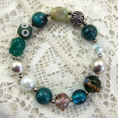 Bracelet, Jasper, Glass and Silver Plated - Teal Dream £6.25