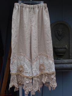 Linen bloomers with vintage lacy trim . Lucky Penny Wear.