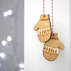Pair Of Fairisle Mittens Hanging Decoration. Add a bit of fun to your Christmas decor this year with these cute and cosy Christmas mitten hanging decorations. Nordic Christmas, Christmas Makes, Christmas Wood, Christmas Signs, Christmas Time, Christmas Crafts, Wooden Christmas Decorations, Wooden Ornaments, Hanging Decorations