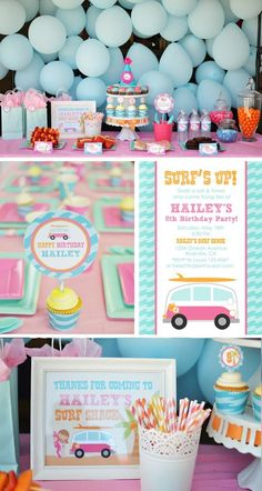 SUPER CUTE surfs up surfing themed birthday party full of ideas! Via Kara's Party Ideas KarasPartyIdeas.com - THE place for ALL things party!