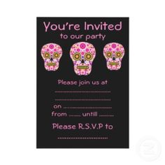 Pink Mexican Sugar Skull #Party #Invitations