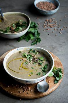 Vegan lentil mushroom soup with miso paste