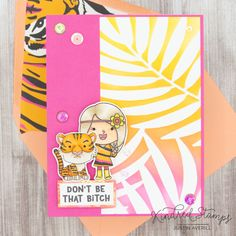 This project uses the Cool Cat and Peace & Love sets, along with the Palm Leaf stencil by Kindred Stamps. Check out my blog for more details!
