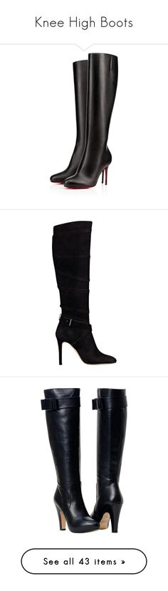 """Knee High Boots"" by fufuun ❤ liked on Polyvore featuring shoes, boots, leather high heel boots, black knee boots, black high heel boots, knee high boots, black boots, heels, black suede and knee-high boots"
