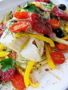 Baked Cod with Blood Orange, Fennel and Olives