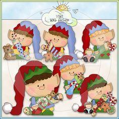 Bitty Elves Christmas Helpers 1 - NE Cheryl Seslar Clip Art