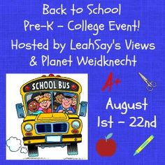 Planet Weidknecht: Giveaway! 7 Children's Books - Back To School Give...