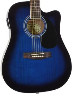 Punctual 6 String Acoustic Electric Guitar Blueburst Oval Back Free Bag Round Back