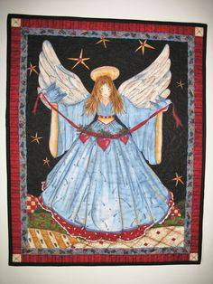 Angel Wall Hanging or Table Topper quilted by PicketFenceFabric, $23.95