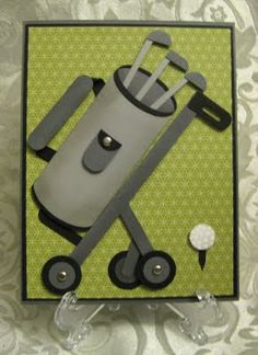 Stamp-n-Design: Golf Bag with Cart Card - This could be for Father's Day or Male Birthday