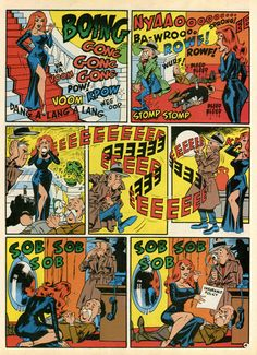 """Sound Effects!"", illustrated by Wally Wood and scripted by Harvey Kurtzman. this was originally published in MAD Magazine, Vol. Comic Book Artists, Comic Books Art, Comic Art, Ec Comics, Horror Comics, Comic Sound Effects, Lucky Luke, Comic Panels, American Comics"