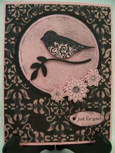 handmade card ... vintage look in pink and black ... cute two step bird with flourish belly ...  luv the look of the pink on black with embossing folder texture .. Stampin' Up!