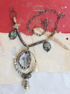 labradorite druzy tribal assemblage necklace with by nearlylost, $110.00