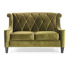 @Overstock.com - Modern Green Velvet Loveseat - Generate a comfortable atmosphere in your home with this modern take on a retro loveseat. This green velvet fabric loveseat features a button-tufted back with a diamond pattern, and espresso wood legs.  http://www.overstock.com/Home-Garden/Modern-Green-Velvet-Loveseat/5281724/product.html?CID=214117 $789.36