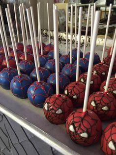 Spiderman Cake Pops - Visit to grab an amazing super hero shirt now on sale!