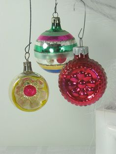 Vintage MERCURY GLASS ORNAMENTS Hot Pink  by LavenderGardenCottag