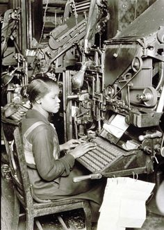 Linotype operator as she works at her machine in a publishing house. The United States. Circa Photo Credit: George Eastman House, Getty Images--this is actually what computers look like inside.