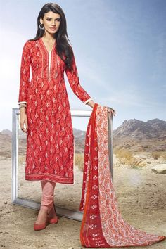 Amiable Red Color Straight Cut Salwar Suit