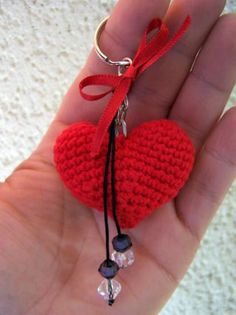 Heart Shaped Keychain Key cotton crochet