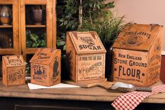 Vintage Wooden Advertising Kitchen Canisters - Set of 4