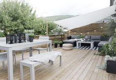 Sonnige Dachterrasse als gemütliches Freiluftareal gestalten-Sonnensegel schützt…