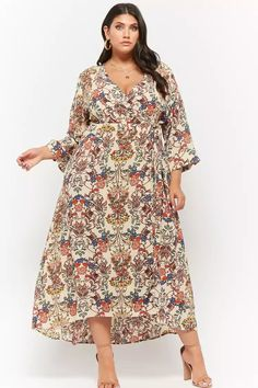 bf3532b784 Product Name Plus Size Crepe Floral Surplice High-Low Maxi Dress