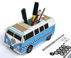 Buy Custom Camper Desk Tidy online and save! A pop out camper van you can build up, pimp with stickers, then pop it onto your desk to keep your pens in. Vw Camper, Camper Life, Custom Campers, Desk Tidy, Office Desk, Pencil Holder, Pen Holders, Tk Maxx, Travel Gifts