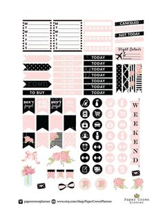 Horizontal planner stickers for use with erin condren planner printable planner stickers weekly planner sticker kit black and blush stickers apr june 2020 dated weekly printable planner inserts horizontal layout w notes section ~ min To Do Planner, Free Planner, Erin Condren Life Planner, Weekly Planner, Happy Planner, School Planner, College Planner, Teacher Planner, College Tips