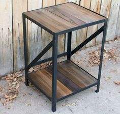 scrap metal and wood  table end table book shelf by jreal on Etsy, $275.00