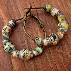 Brass Hoop Beaded Earrings with Handmade Paper Beads: Funnies