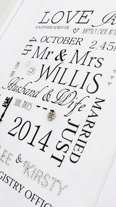 Classic Wedding PrintPerfect #wedding #anniversary #gift Personalise with : Bride and Groom's Name New Surname  Date - Engaged Date - Wedding Time of Wedding Wedding Venue Honeymoon Destination Children's Names Buy Online http://wowlovethis.co.uk/index.php… Order Via facebook & PayPal just inbox us #wedding #bride #grom #weddingday #happycouple #love #mrs #mr #marriage #gift #keepsake #unique #bespoke #handmade #craft