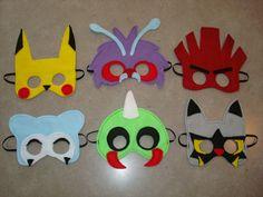 SET of 6 Pokémon Inspired Felt Masks Halloween by StixandStitches