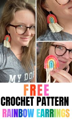 A step by step crochet tutorial showing how to crochet a funky pair of rainbow earrings that are perfect for gifting or selling at craft fairs! Crochet Jewelry Patterns, Easy Crochet Patterns, Crochet Accessories, Crochet Jewellery, Tutorial Crochet, Crochet Thread Size 10, Single Crochet Stitch, Crochet Gifts, Free Crochet