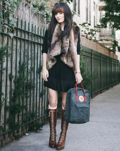 fur vest with boho dress 2017 and brown lace up boots