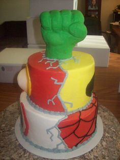 Super Hero by Jayme Sues Cakes this is my mom's friend she makes amazing cakes I'm trying to get her spread around