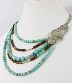 Cowgirl Bling Indian Turquoise Silver Native FEATHER beaded Gypsy necklace  our prices are WAY BELOW RETAIL! all JEWELRY SHIPS FREE! www.baharanchwesternwear.com baha ranch western wear ebay seller id soloedition