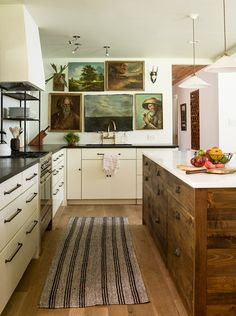 Kitchen Trend: No Upper Cabinets - Emily A. Clark - dark wood island with a cache of drawers (and the rest of the kitchen, too)