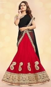 Red Color Embroidered Net and Brocade Choli Skirt  #cholisuit #onlineghagracholi Bedazzle the crowd with your endless beauty by wrapping on this red color embroidered net and brocade choli skirt. Look ravishing clad with this attire that is enhanced patch, lace and resham work. Upon request we can make round front/back neck and short 6 inches sleeves regular lehenga blouse also. USD $ 124 (Around £ 86 & Euro 94)
