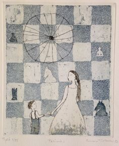Emmi Vuorinen grafiikkaa teos/taulu Pelimies - Life Art Oy Silhouette, Family Album, Gravure, Chess, Artist At Work, Finland, Printmaking, Surrealism, Childrens Books