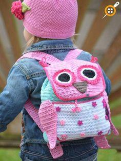 Ravelry: Crochet Owl Adventure Backpack pattern by Tatsiana Matsiuk Crochet Girls, Cute Crochet, Crochet For Kids, Crochet Crafts, Crochet Toys, Crochet Projects, Knit Crochet, Ravelry Crochet, Crochet Granny