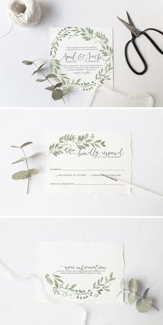 Garden Wedding Invitation Suite - love the Watercolor Foliage Illustration / from Splash of Silver