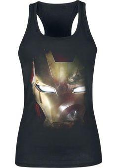 """Top donna nero """"Captain America Civil War - Reflection"""" di Iron Man con ampia stampa frontale."""