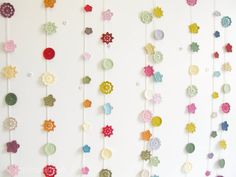 Cute idea for a little girl's room…  Crochet flower garland Mary  retro red by emmalamb on Etsy, £36.00