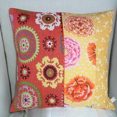 Housse de coussin bohème rouge et jaune, tissu d' ameublement et coton